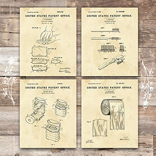 Bathroom Patent Art Prints (Set of 4) - Unframed - - Art Print Bathroom