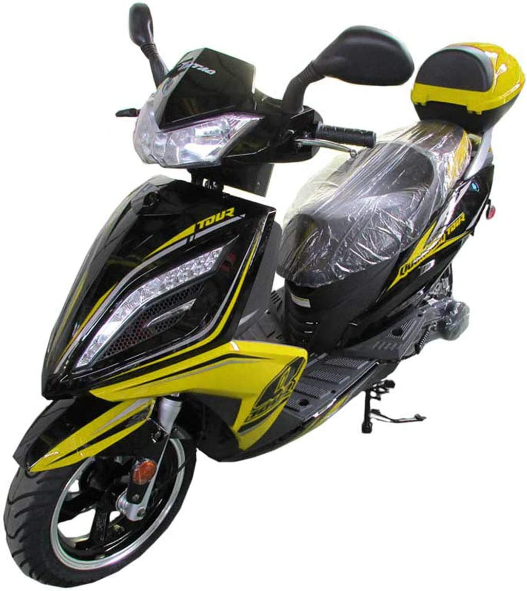 Yellow X-PRO 150cc Moped Scooter Street Scooter Gas Moped 150cc Adult Scooter Bike