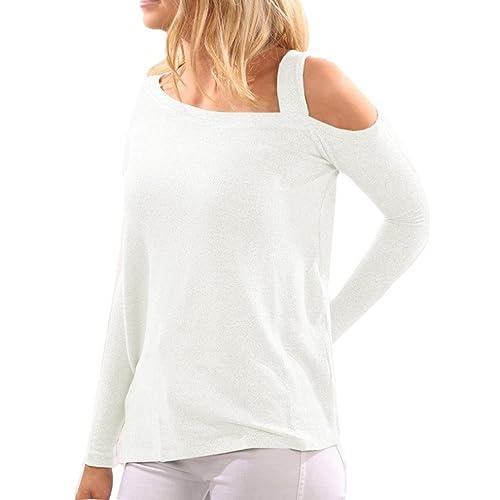 Mujer camisetas y blusa manga larga OverDose asimétrico fuera de hombro manga larga blusa suelta top...