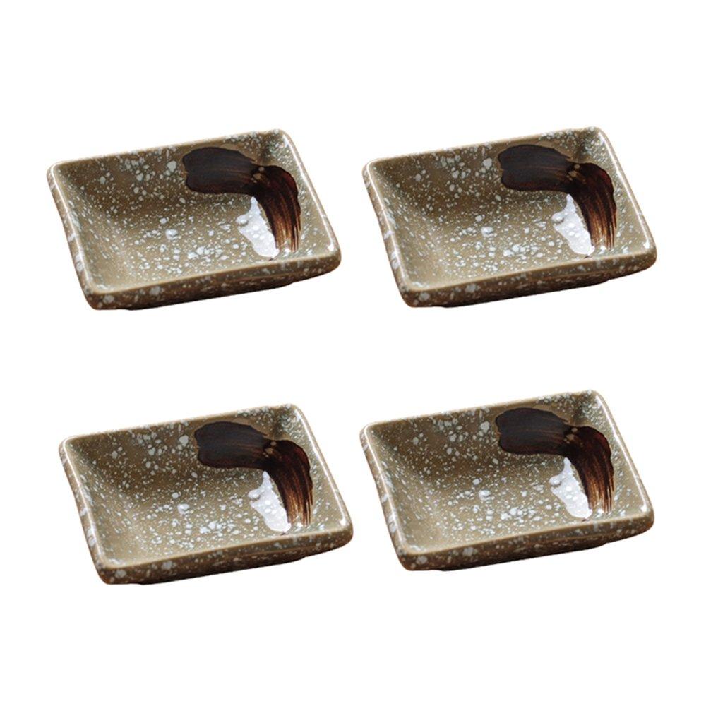 Colias Wing Japanese Style Rectangle Shape Stylish Design Multipurpose Porcelain Side Dish Bowl Seasoning Dishes Soy Dipping Sauce Dishes-Set of 4-Beige