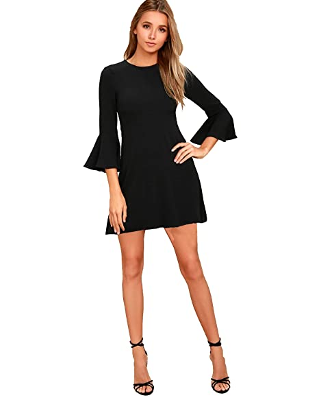 ADDYVERO Women's Flounce Sleeve A Line Dress Dresses   Jumpsuits