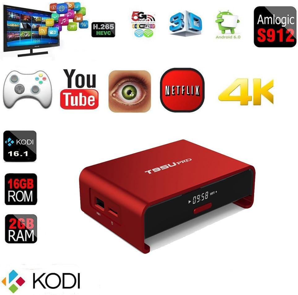 epatio t95upro Android 6.0 TV Box 4 K S905 X Quad-Core Cortex-A53 2.0 GHz 64-Bit KODI 16.1 penta-core GPU 2 GB de RAM/16 GB eMMC 2.4 G + 5 G WIFI Streaming