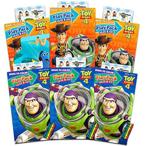 Disney Pixar Toy Story 4 Party Favors Pack ~ Bundle of 6 Toy Story Play Packs Filled with Stickers, Coloring Books, Crayons with Bonus Finding Dory Stickers (Toy Story Party Supplies) ()