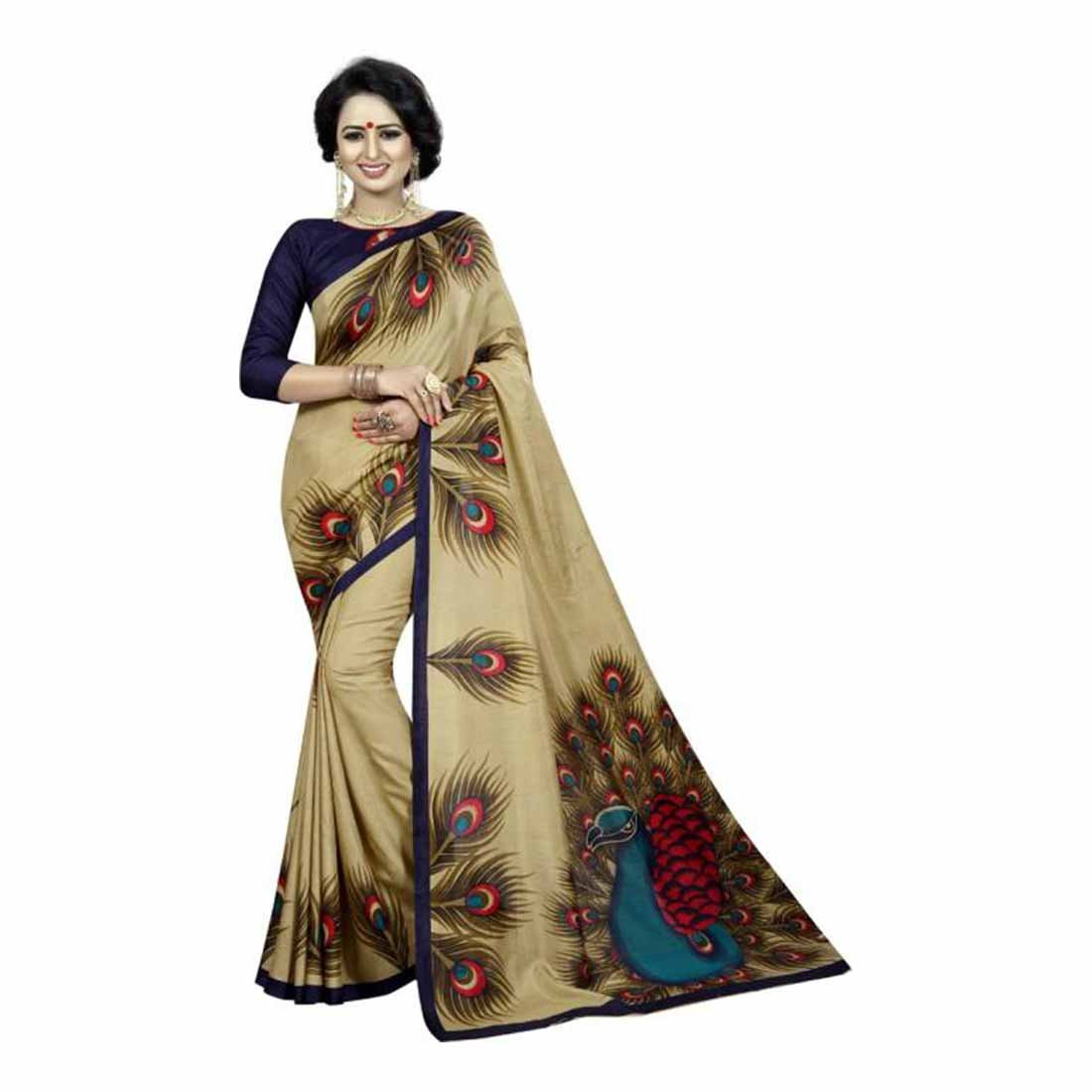 Indian Handicrfats Export Self Design Mysore Art Silk Saree (Gold) FKSAR-0053