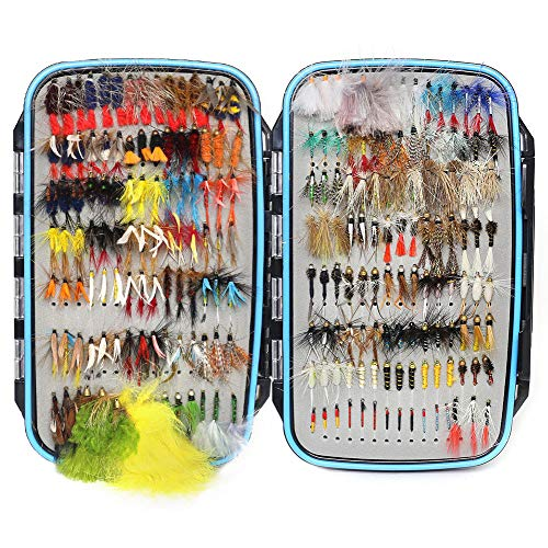 YZD Trout Fly Fishing Flies Collection 225/180/120/118/60 Premium Flies Dry Wet Nymph Streamers Fly Assortment Fly Box Flyfishing Flys Lures Kits (Deluxe Trout Guide Fly Selection 225Pcs)
