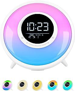Sunrise Wake Up Light Alarm Clock for Heavy Sleepers, White Noise Sleep Sound Machine, FM Radio, 11 Colors Night Light with Sleep Timer /18 Sounds /Dual Alarm /Snooze/Child Lock/Temperature Display