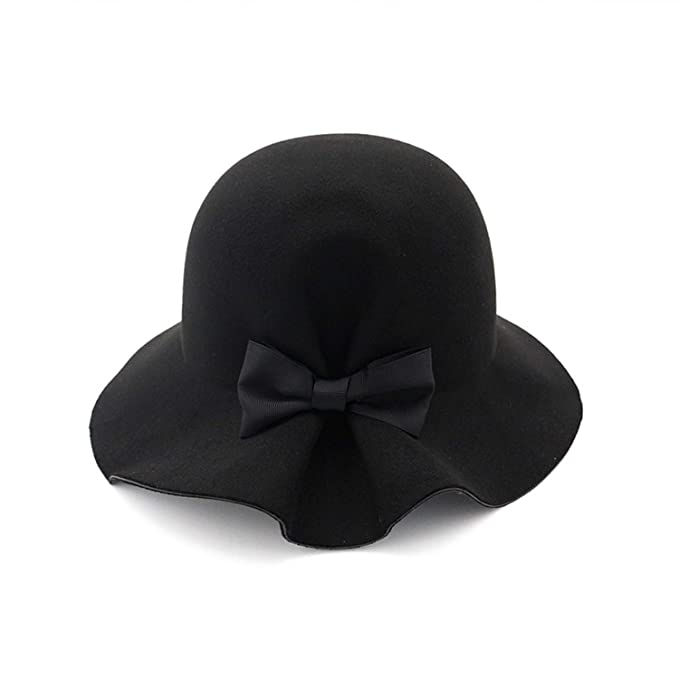 DOSOMI Autumn Winter Women Wool Felt Formal Party Jazz Trilby Fedora Hat  with Bowknot Wide Brim c9047799e592