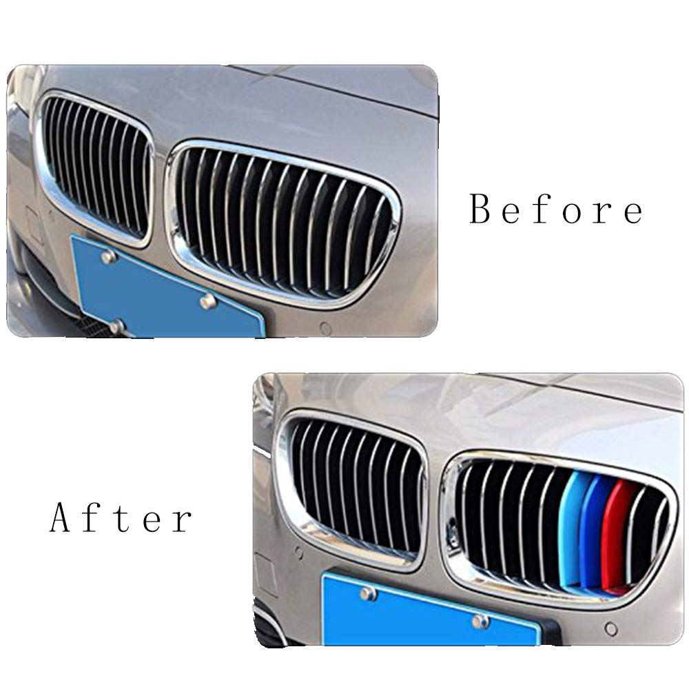For B M W 5 Series F10 F11 520i 528i 530i 535i 550i 2011-2013 12 Grille Inserts Kidney Grilles Hood Radiator Grill Stripes 3D M Performance Stickers Grill Cover Decoration 3Pcs