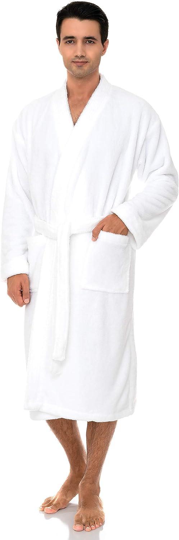 TowelSelections Mens Plush Spa Robe Fleece Kimono Bathrobe Made in Turkey