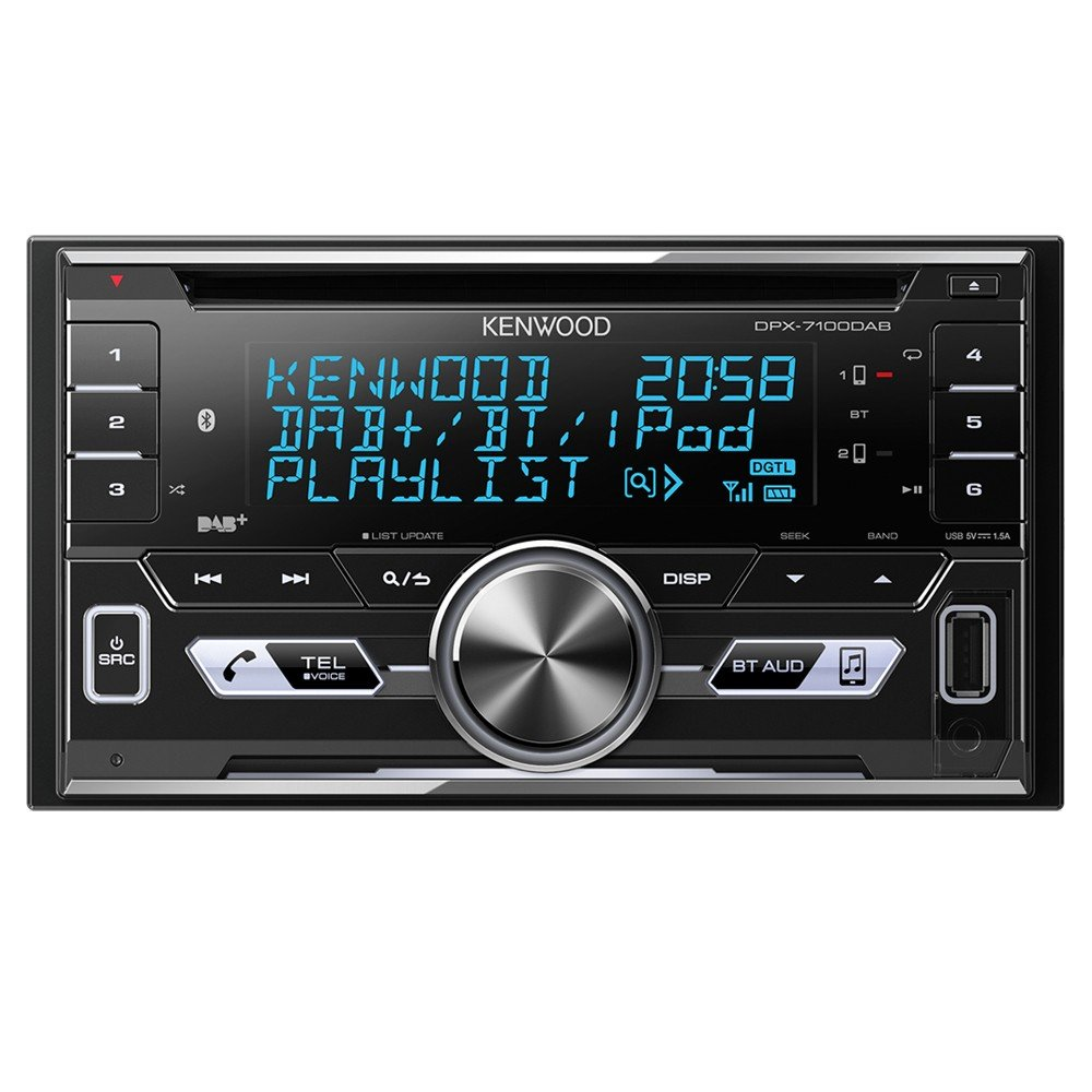 Kenwood Electronics DPX-7100DAB Negro receptor multimedia para coche - Radio para coche (Negro, 2 DIN, 50 W, MOSFET, AAC,FLAC,MP3,WAV,WMA, LCD) DPX7100DAB