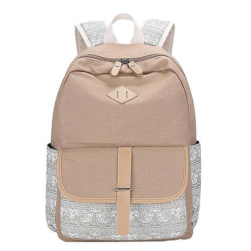 MingTai Oferta Mochilas Escolares Mujer Backpack Mochila Escolar Lona Rayas Grande Unisexo Bolsa Casual Juvenil Chica Caqui: Amazon.es: Zapatos y ...