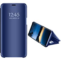 Carcasa Compatible con Samsung Galaxy S9 Plus Case Mirror Funda Inteligente Fecha/Hora Ver Funda de Espejo Flip Caso Book PC Hard Teléfono móvil Shell Cover para Galaxy S9+ 2018