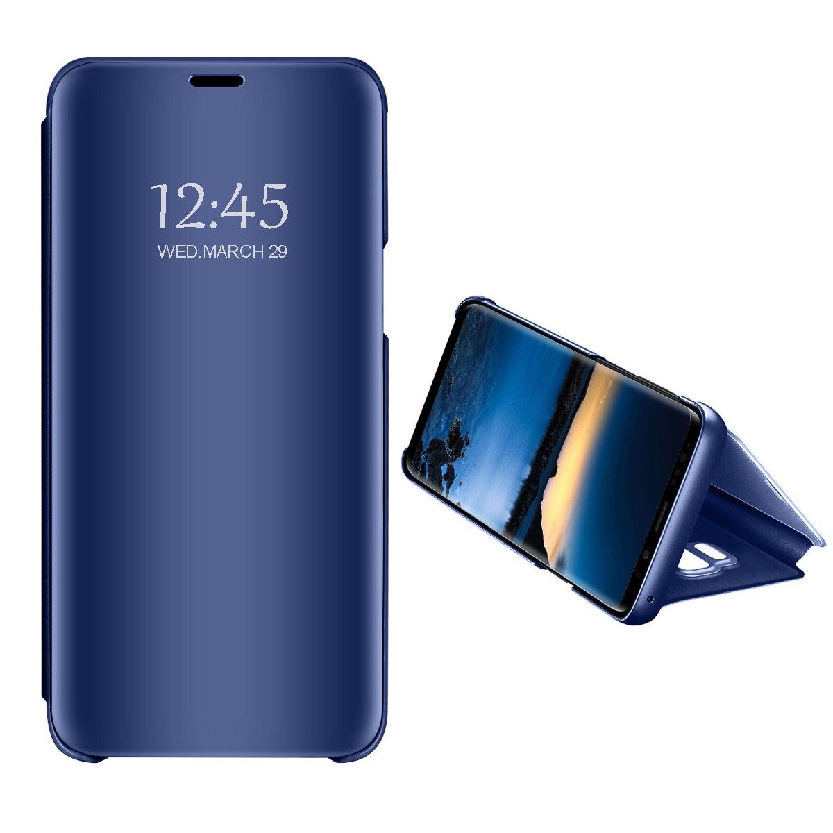 Samsung Galaxy J4/Galaxy J6 2018 Spiegel Schutzhülle Flip Handy Case Tasche mit Standfunktion Business Serie Hart Case Cover für Galaxy J4/Galaxy J6