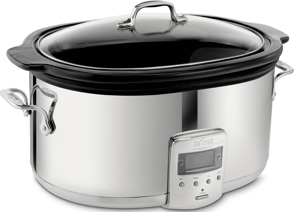 All-Clad SD700450 Programmable Oval-Shaped Slow Cooker with Black Ceramic Insert and Glass Lid, 6.5-Quart, Silver (Renewed)