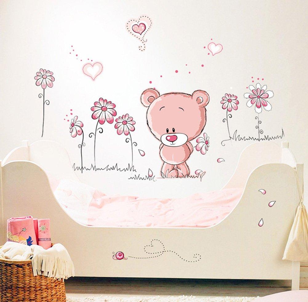 Fangeplus(TM) DIY Removable Cartoon Pink Bear Love You Every Day Art Mural Vinyl Waterproof Wall Stickers Kids Room Decor Nursery Decal Sticker Wallpaper 51.2''x43.3'' by Fangeplus
