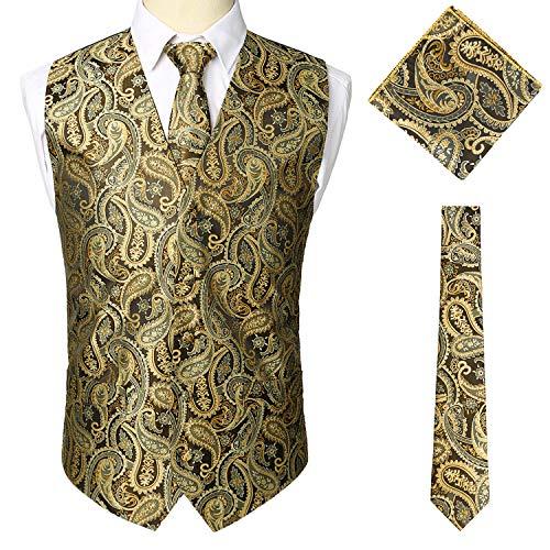 Vintage Poche Costume Veste Sttlzmc Paisley Cravate Homme De Manches amp; Mariage Sans Set Jaune Double Carre Gilet Boutonnage r0g0vzZqw