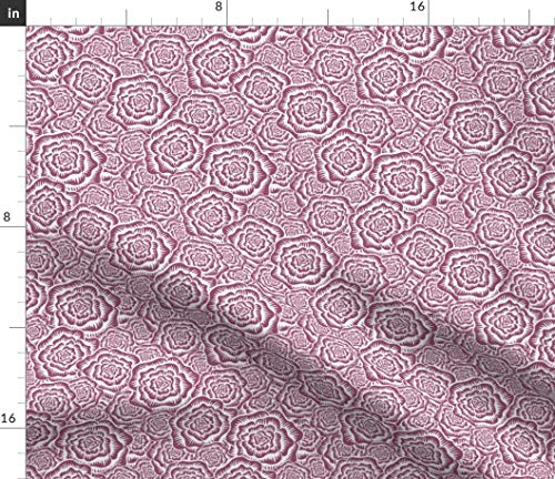 (Etched Roses Fabric - Pattern Summer Baby Girl Floral Nursery Decor Flower Rose Wedding Purple Fashion Print on Fabric by The Yard - Satin for Sewing Lining Apparel Fashion Blankets Decor)