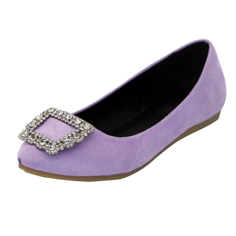 AalarDom Women's Frosted Pull-On Pointed-Toe No-Heel Solid Flats-Shoes Glass Diamond, Purple, 41