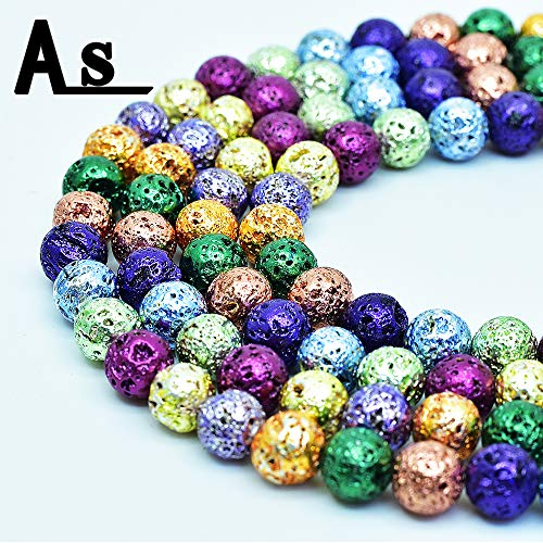 """Asingeloo Natural Metallic Titanium Coated Lava Rock Volcanic Stone Beads for Jewelry Making Round Loose Spacer Beads 10mm Mix Color Gemstones 15"""" a Strand"""
