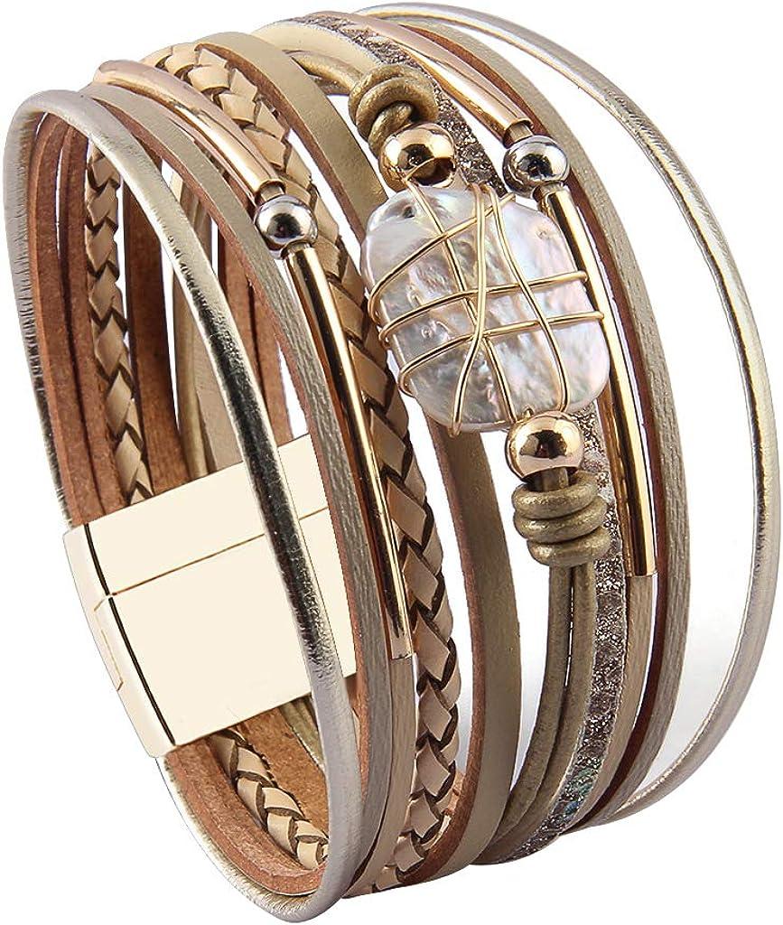 Wife Holiday Jenia Baroque Pearl Leather Cuff Bracelet Multi Strand Wrap Bracelets Magnetic Bohemian Bracelet for Women Teens Girls