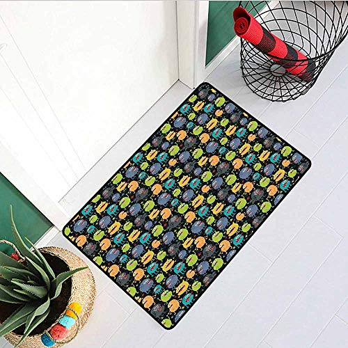 Alien Inlet Outdoor Door mat Cute Funny Characters Cartoon Style Halloween Themed Monsters Abstract Background Catch dust Snow and mud W35.4 x L47.2 Inch Multicolor