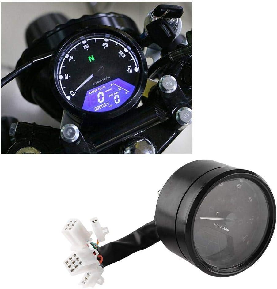 Tachym/ètre num/érique compteur de vitesse compteur kilom/étrique 12000tr//min moto r/étro-/éclairage LED
