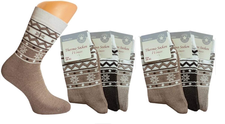 3er oder 6er Pack Damen Thermo-Socken, Frottee mit Norweger-Motiv, warme Thermosocke, Homesocks