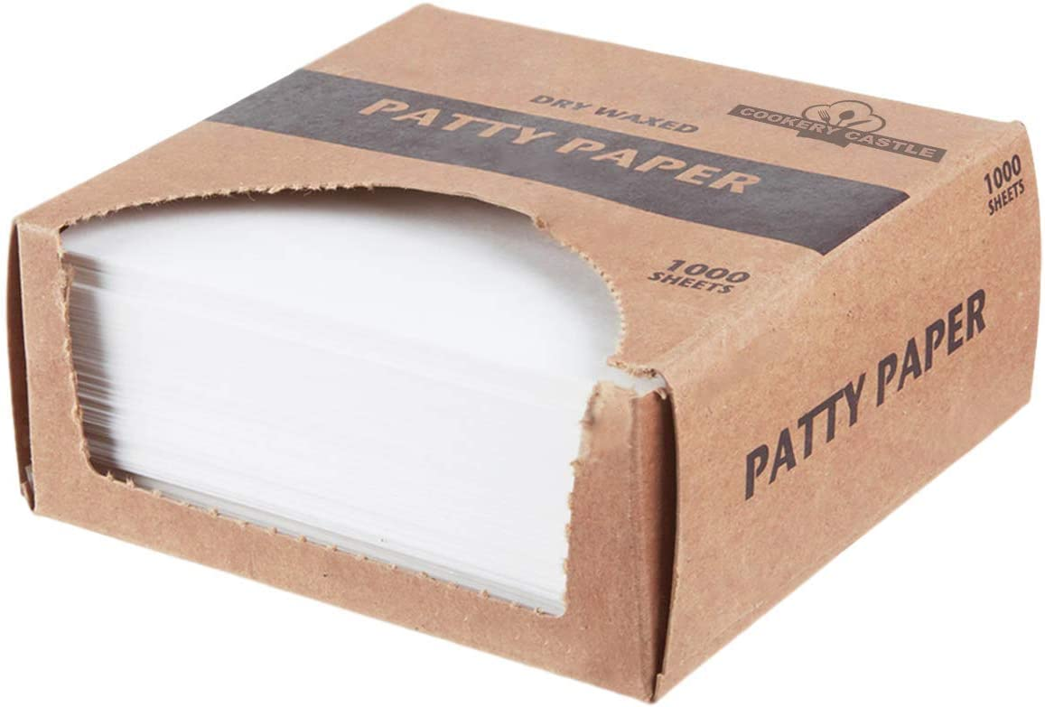 Cookery Castle Patty Paper, Dry Waxed Sheets, Hamburger Patty Paper, Food Grade Squares, Non Stick, Perfect for Hamburger Patties, Deli Meats, Sliced Cheese Pack of 1000 (5.5 Inch x 5.5 Inch)