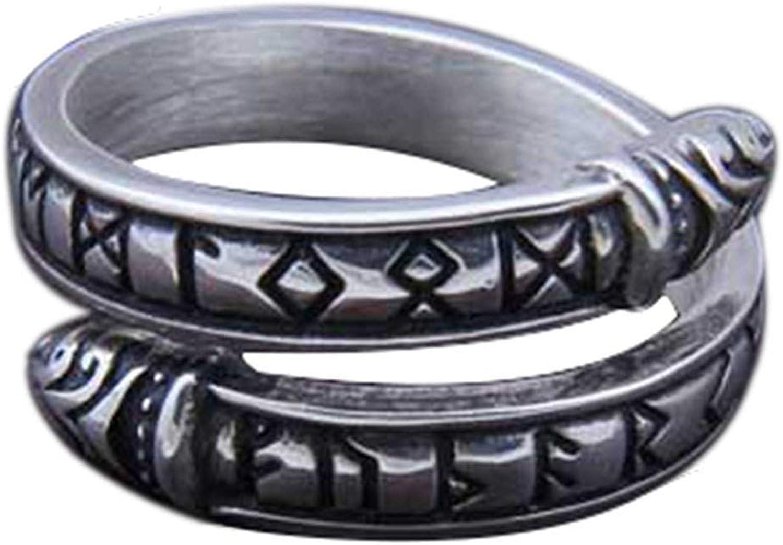 GuoShuang Nordic Viking Amulet drgon dreki Scandinavian Jormungand Adjustable Size Rings Stainless Steel with Valknut Rune Gift Bag
