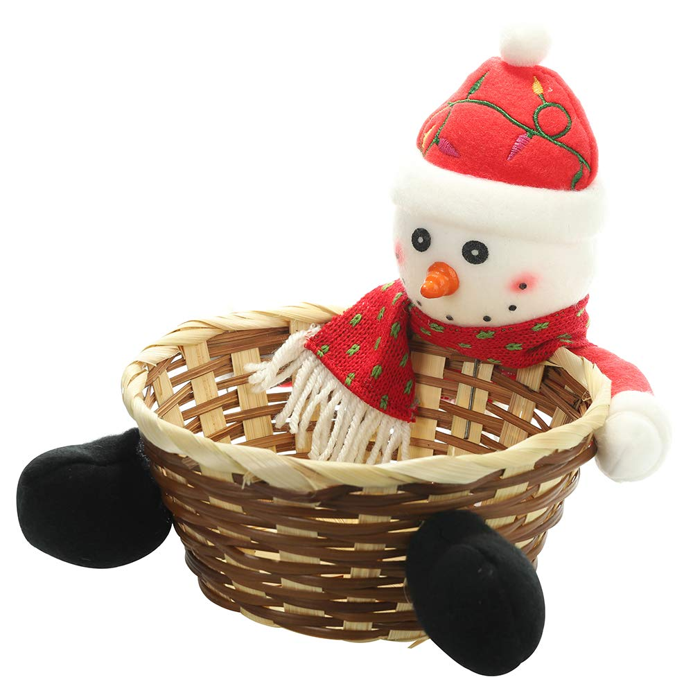 JuguHoovi Christmas Candy Storage Basket Christmas Party Gift Holder Xmas Storage Basket Fruits Container Basket Box Jar Snowman Candy Storage Basket Gift for Home Party Decoration