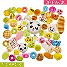 Squishy Toys Slow Rising Squishies 20 Pcs Random Packages – Kawaii Giant Food Squishys - Jumbo Medium Mini Soft Panda Bread Buns Doughnuts – Phone Charms Key Chain Strap by Dropplex