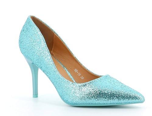a2a846e2e Fashion Shoes-Escarpins Femmes Talon Haut Sexy-Chaussures Anguille Talon  Fin 9cm-Vernis Brillant en Paillettes-pour Soirée Mariage-Chic Tendance