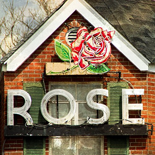 Wood Wall Art Photography - Decorative Neon Sign: Rose Building, Louisville, KY ()