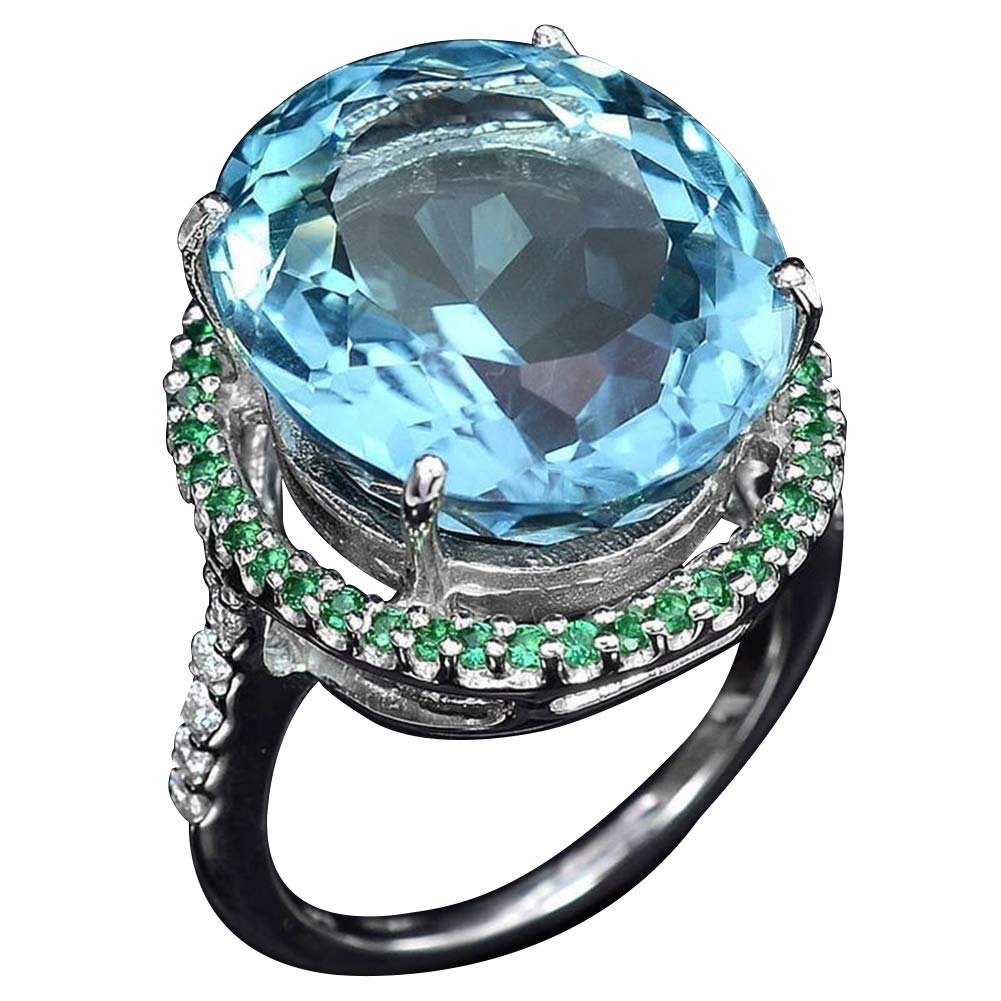 Slendima Vintage Round Artificial Topaz Finger Ring Luxury Engagement Wedding Jewelry Navy Blue US 6
