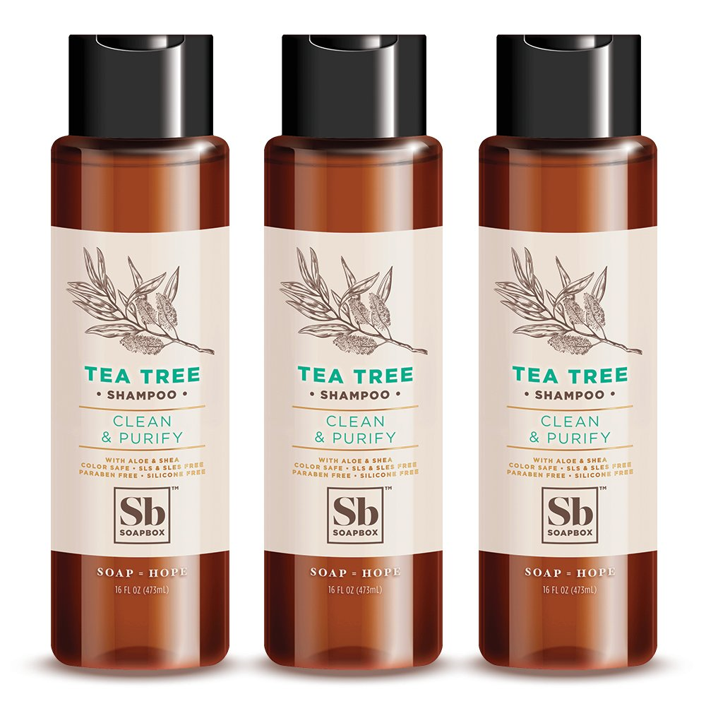 SoapBox Soaps Shampoo, Tea Tree with Shea Butter, 3 Count