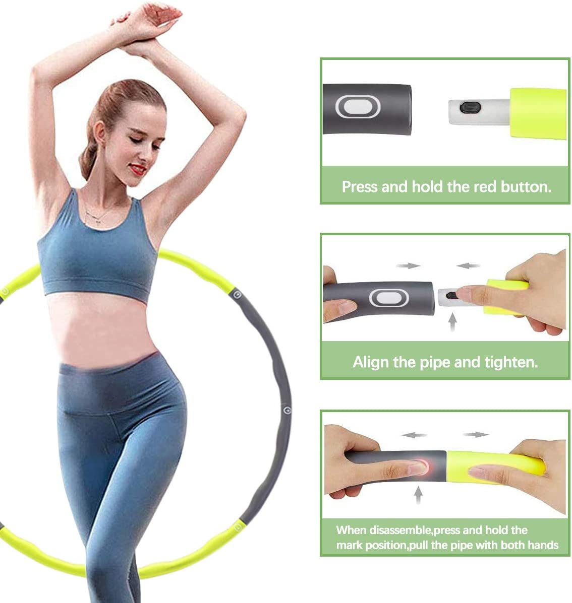 1 kg with Mini Tape Measure Suitable for Adults Movement and Weight Loss HKBTCH Hula Hoop for Fitness Tyres with Foam Approx