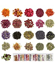 GUIFIER 21 Bags Dried Flower, Natural Dried Flower Herbs Kit for Soap, Candle, Resin Jewelry Making, Bath Bombs, Floral Water, Nails Decorations - Rose, Lavender, Jasmine and etc