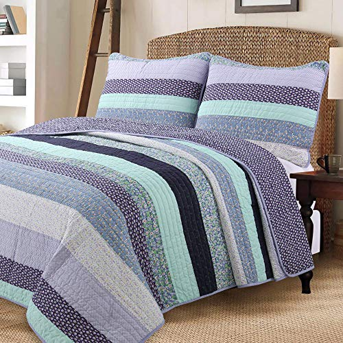 Cozy Line Home Fashions Jeannie Lilac Purple Floral Striped Flower Lodge House Cabin Cottage 100% Cotton Quilt Bedding Set Reversible Coverlet Bedspread for Women(Lilac Stripe, King – 3 Piece)