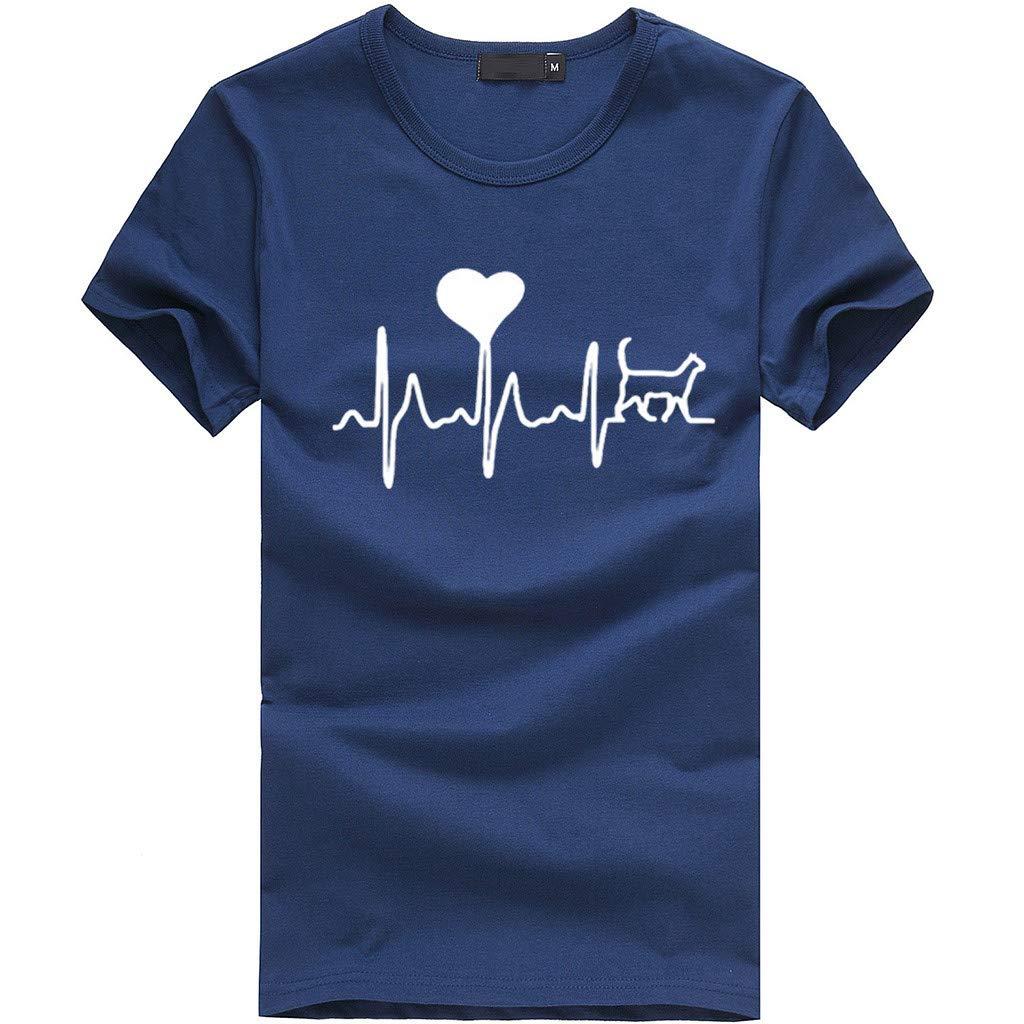 Women Short Sleeve T-Shirt Crewneck Heart Print Tee Casual Solid Tees Blouse Tunic Tops (S, Navy)