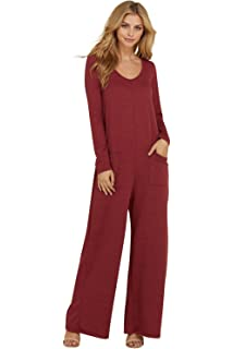 f9515e9c69b Annabelle Women s Long Sleeve French Terry Wide Leg Pocket Romper Jumpsuits  S-3XL
