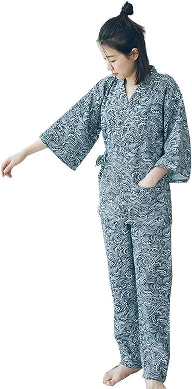 Vestido de algodón Estilo japonés para Mujer Kimono Pijama Traje-Gato A