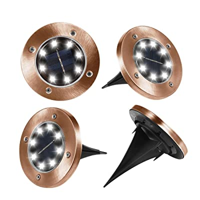 Seseria Solar Ground Lights Outdoor, Disk Lights Garden Pathway Outdoor in-Ground Solar Lights with 8 LED(4 Pack; White Light) (Bronze) : Garden & Outdoor