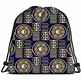 Modern 3 D Greek Drawstring Backpack Bag Sackpack Gym Sack Sport Beach Daypack For Girls Men & Women Teen Dance Bag Cycling Hiking Team Training