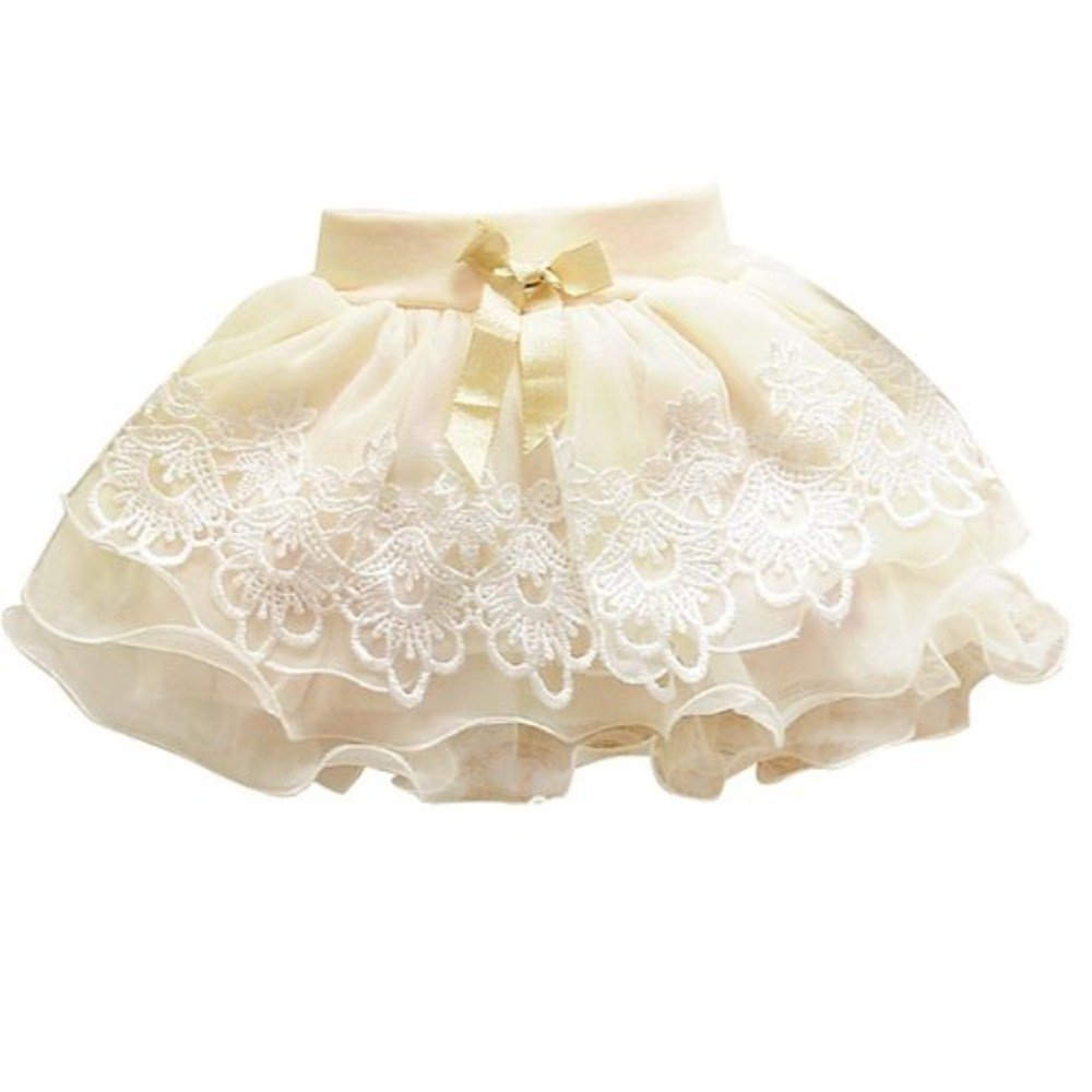 BUYEONLINE Baby Girls Princess Mini Floral Summer Tutu Skirt 4-5 Years,Beige