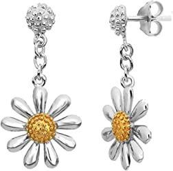 Silver Daisy Earrings, 13mm Daisy with Gold Plated Centres. Quality 925 Silver Stud Earrings.