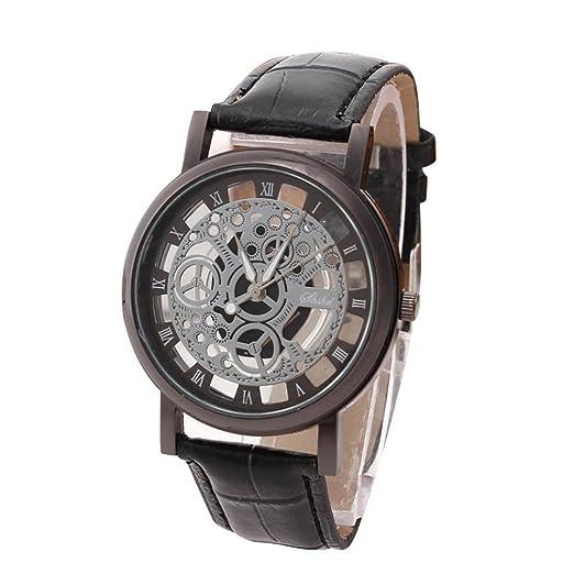 Relojes Hombres de lujo de cuarzo de acero inoxidable de cuero militar banda de cuero reloj