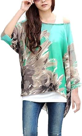 Landove Blusas y Camisas Mujer Estampadas Flores Camiseta Bohemia Tops con Mangas Largas de Murciélago Caftan Playa Gasa Tallas Grandes: Amazon.es: Ropa y accesorios