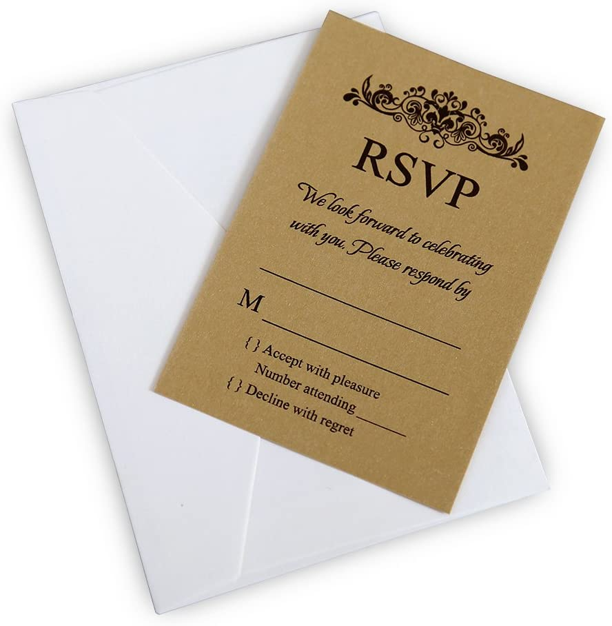 Amazon.com: Doris Home 50 pcs/lot Gold Rsvp cards with white ...