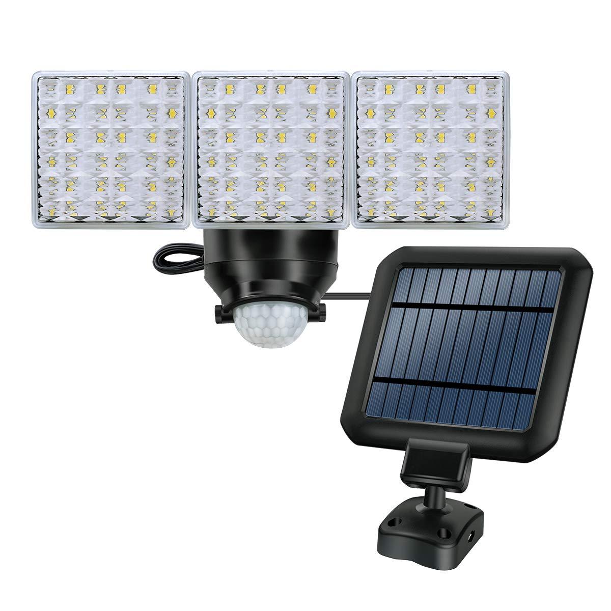 Solar LED Security Light, STASUN Triple Head 1800lm Motion Sensor Light with Wide Lighting Angle, 5000K, Adjustable Head, Waterproof Outdoor Flood Light for Front Door, Yard, Garage, Deck by STASUN