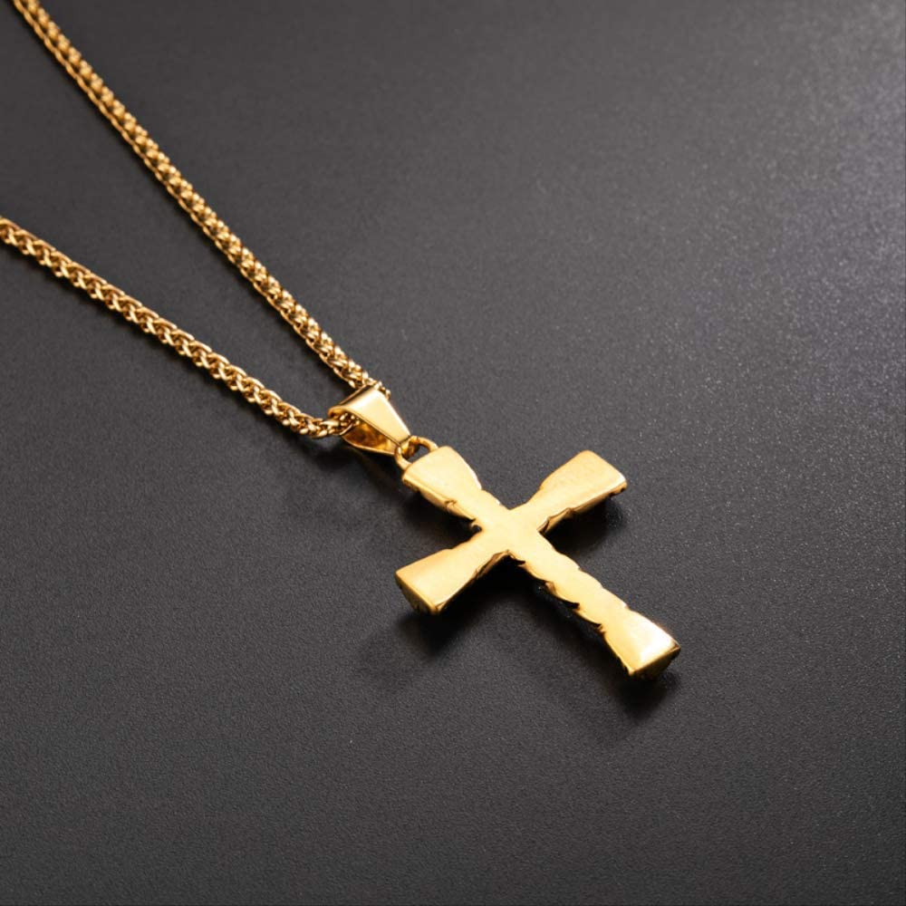 Cold Color Cross Necklace Stainless Steel Punk Vintage Cross Pendant Necklace Jewelry For Man Women 24 Chian Necklaces